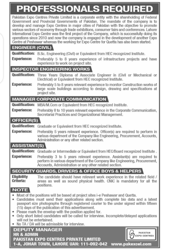 Pakistan Expo Centres Pvt Ltd Lahore Jobs 2021 May Latest