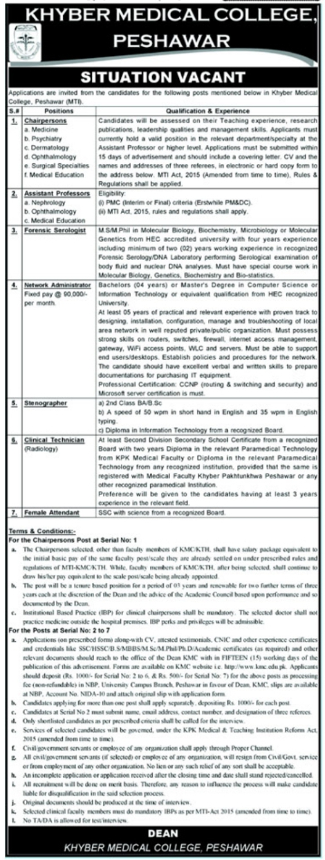 Khyber Medical College Peshawar Jobs 2021 Latest Advertisement