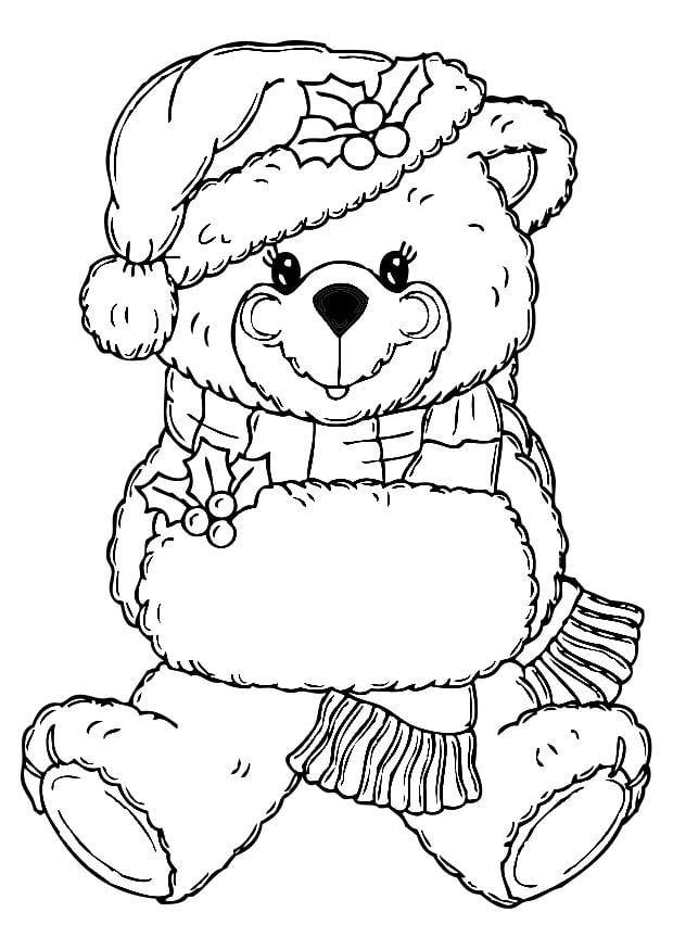 Dibujo Para Colorear Oso De Navidad Img 19779