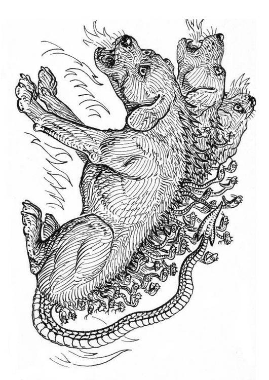Disegno Da Colorare Cerbero Cane Dellinferno Cat 18967