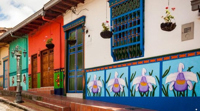 The colorful art of the facades Guatape, Antioquia, Colombia