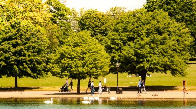 Mañas en el lago ciudad de Londres, UK