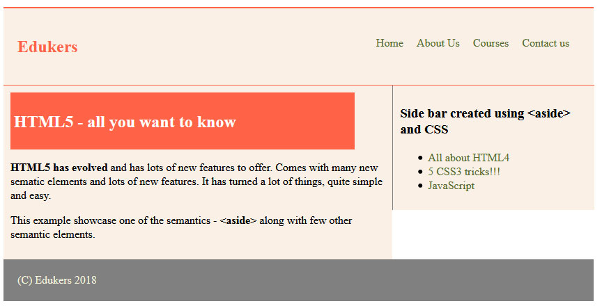 Sidebar using Aside and CSS
