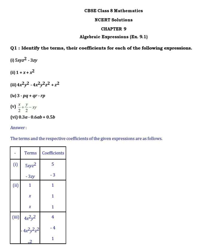 Ch -9 Algebraic Expression- Page wise NCERT Solution (9 1) |