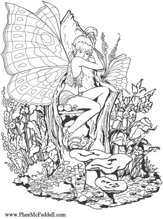 forest fairy adult coloring colouring page