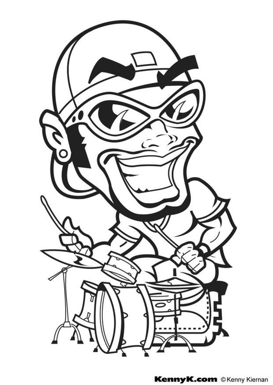 coloring page hip hop drummer  free printable coloring pages