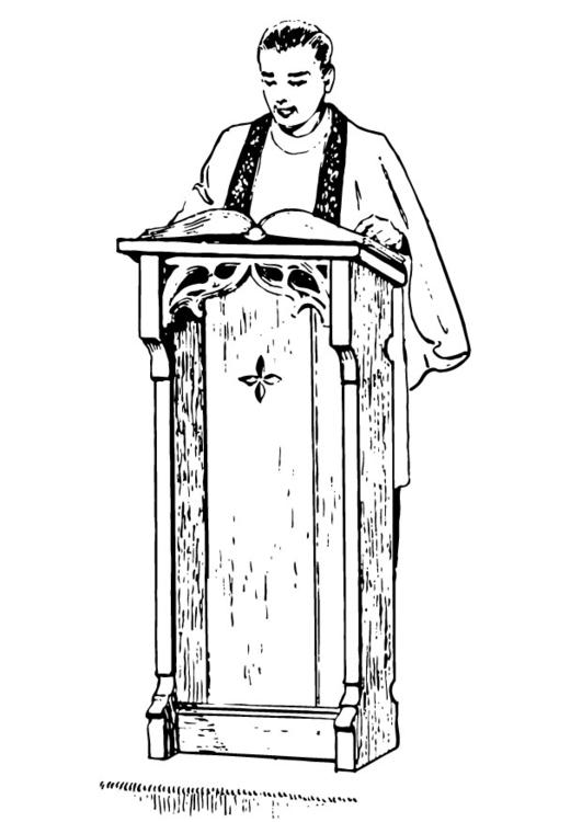 Coloring Page Priest Behind Lectern Img 13254 Images