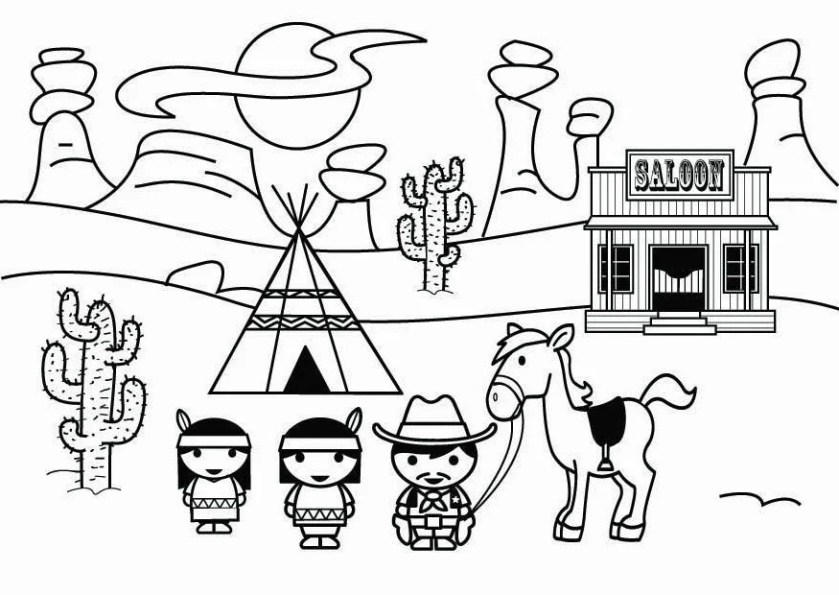 coloring page wild west  free printable coloring pages
