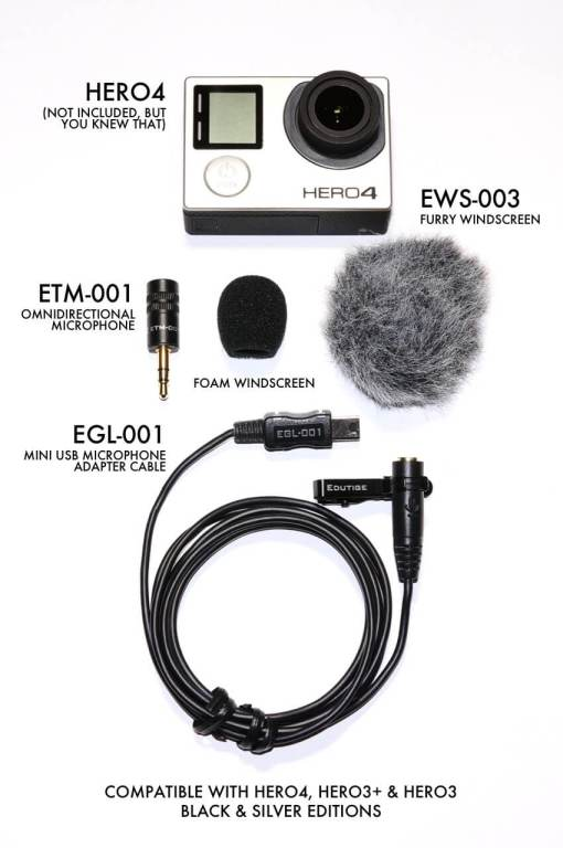 Edutige ETM-001 microphone for Go Pro Hero 4