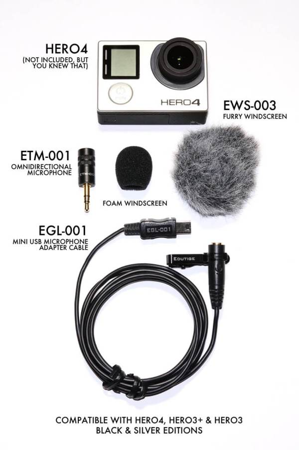 Edutige ETM-001 microphone for Go Pro Hero 4
