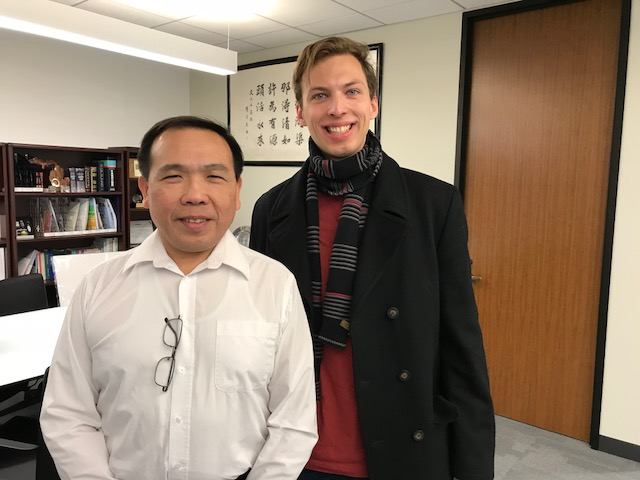 Huayu Scholarship recipient Harrison visited Chicago office.