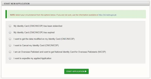 CNIC-NICOP tab, six options to start application