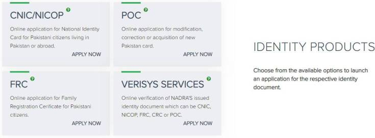 NADRA's Pak-Identity Account Welcome Page