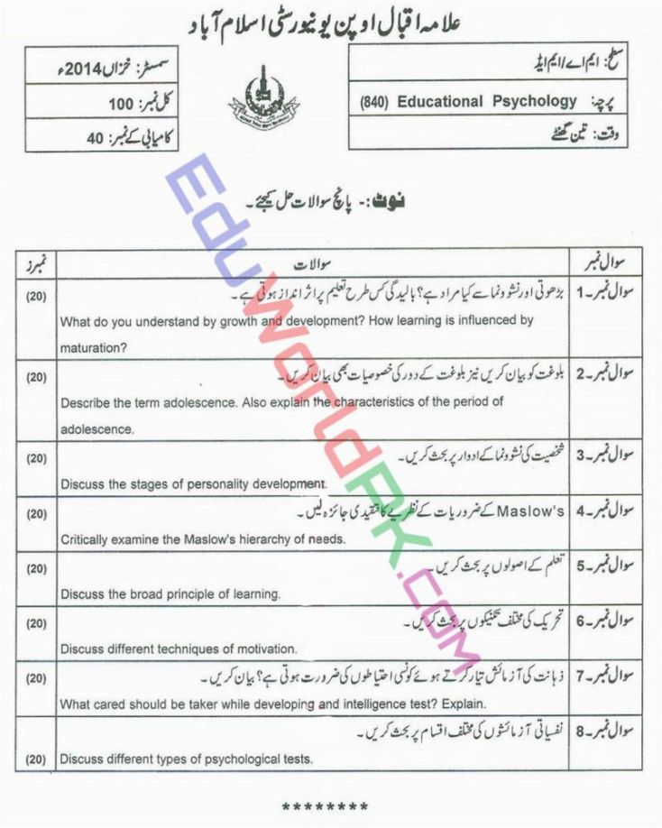 AIOU-MEd-Code-840-Past-Papers-Autumn-2014