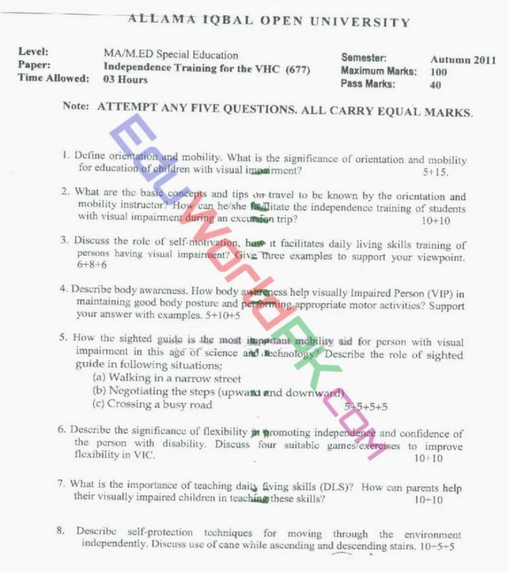 AIOU-MEd-Code-677-Past-Papers-Autumn-2011
