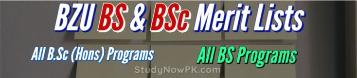 BZU Multan BS - BSc - LLB Merit Lists Latest