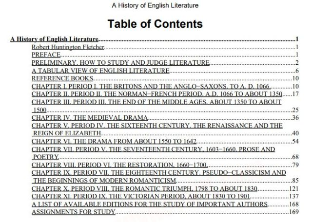 A-History-of-English-Literature-Contents