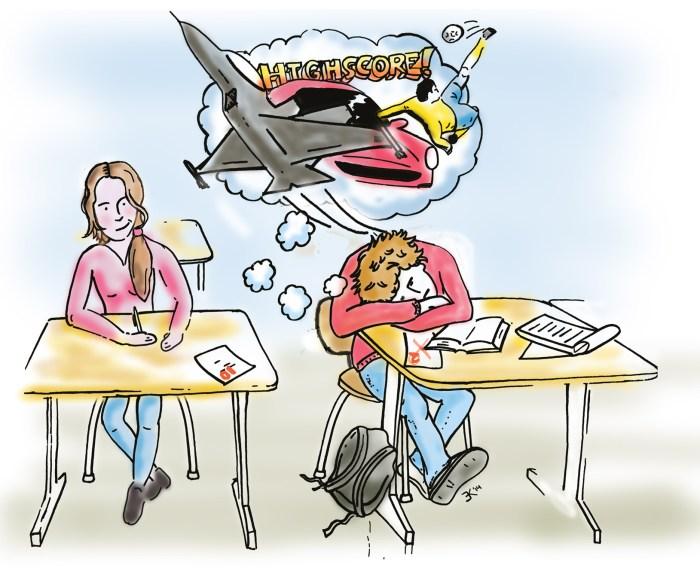 Illustratie klas met dromende jongere