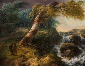 Landschap in de storm. Typisch schilderij uit de Romantiek van Gerard van Nijmegen