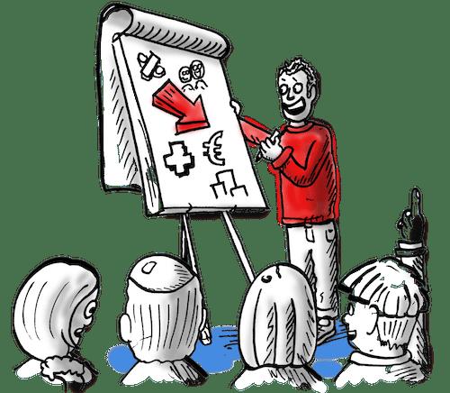Onze tekeningen dragen ook bij aan brainstorms en vergaderingen