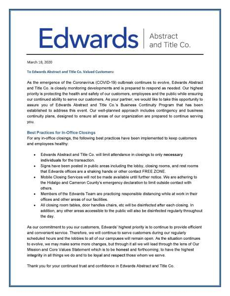 2020 Edwards Business Continuity Program – COVID-19