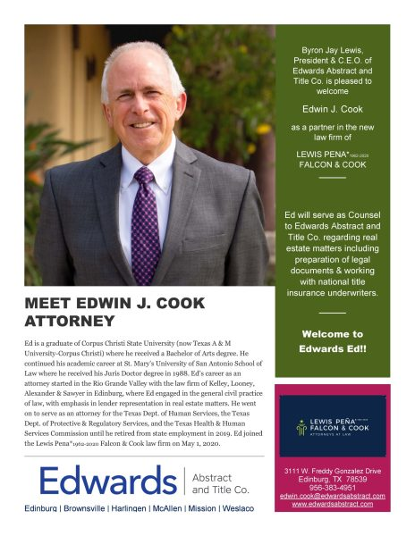 Edwards welcomes Edwin J. Cook!