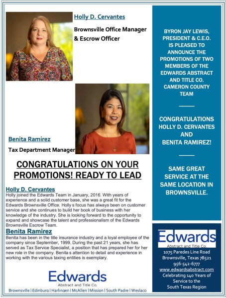 Congratulations to Holly D. Cervantes and Benita Ramirez!