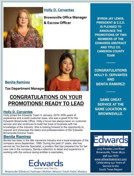 Congratulations to Holly D. Cervantes and Benita Ramirez!