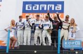 Podium GTB divisie - Frédérique Jonckheere - Ward Sluys - Milan Dontje - Ferdinand Kool - Donald Molenaar - Patrick Lamster - Supercar Challenge - Gamma Racing Day TT-Circuit Assen