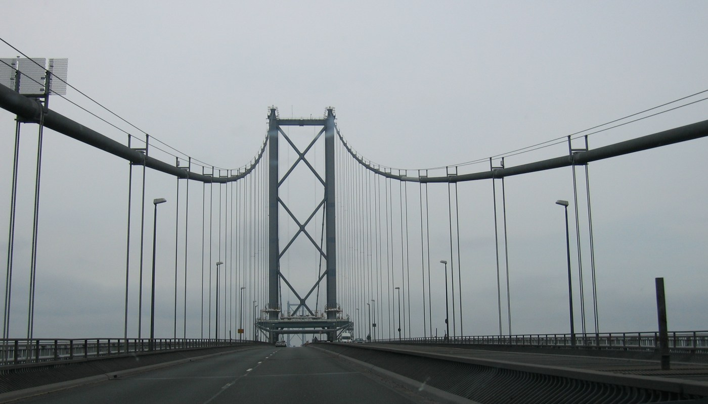 Driving over the Forth Road Bridge