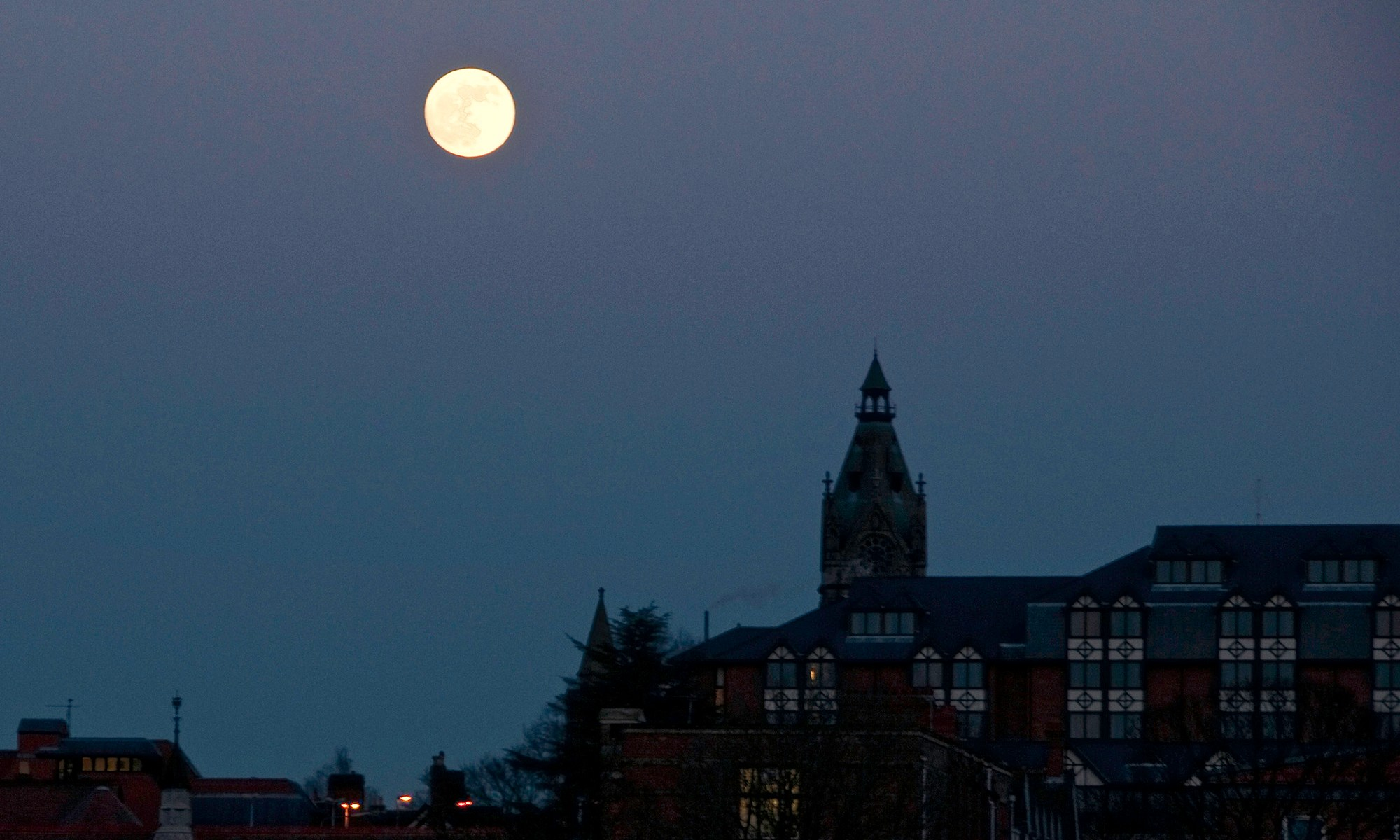 Moon over Chester Skyline
