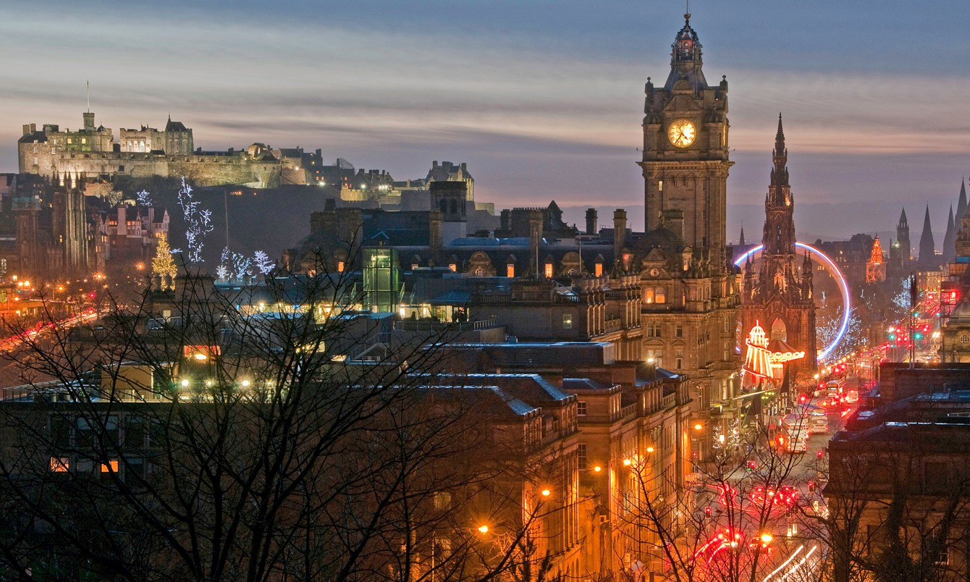 Balmoral Hotel and Edinburgh Castle at Dusk
