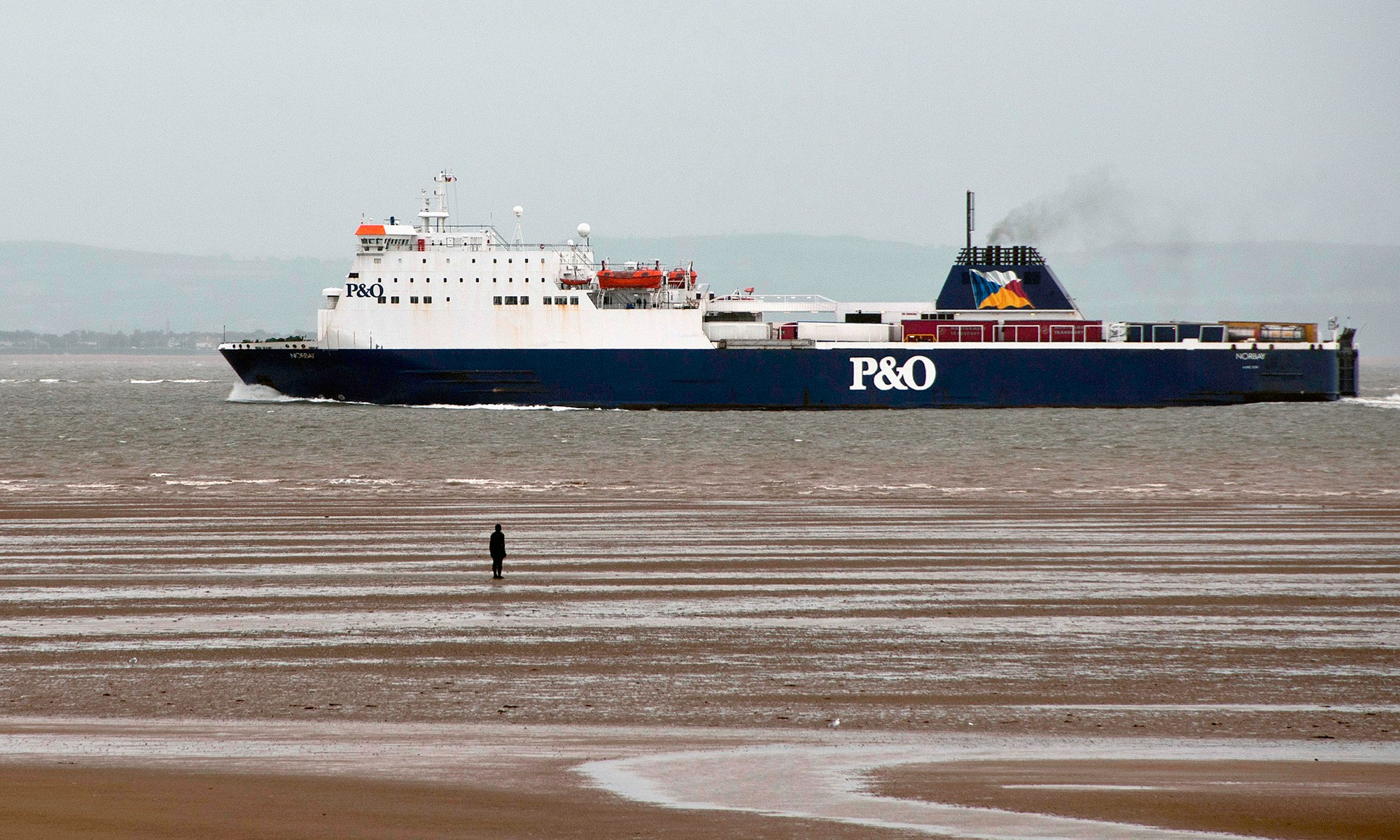 P&O Ferry passing Another Place Statues