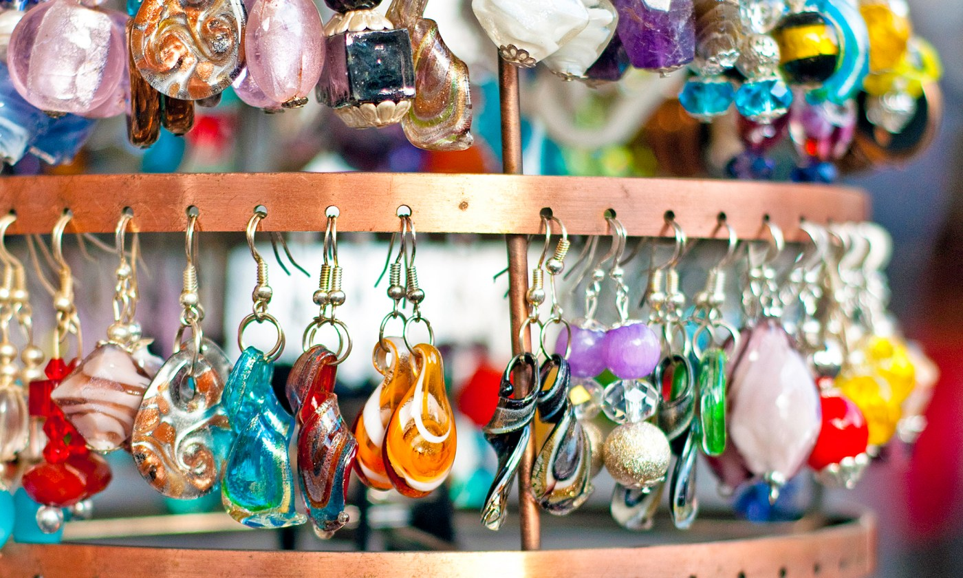Earring Display at the Market