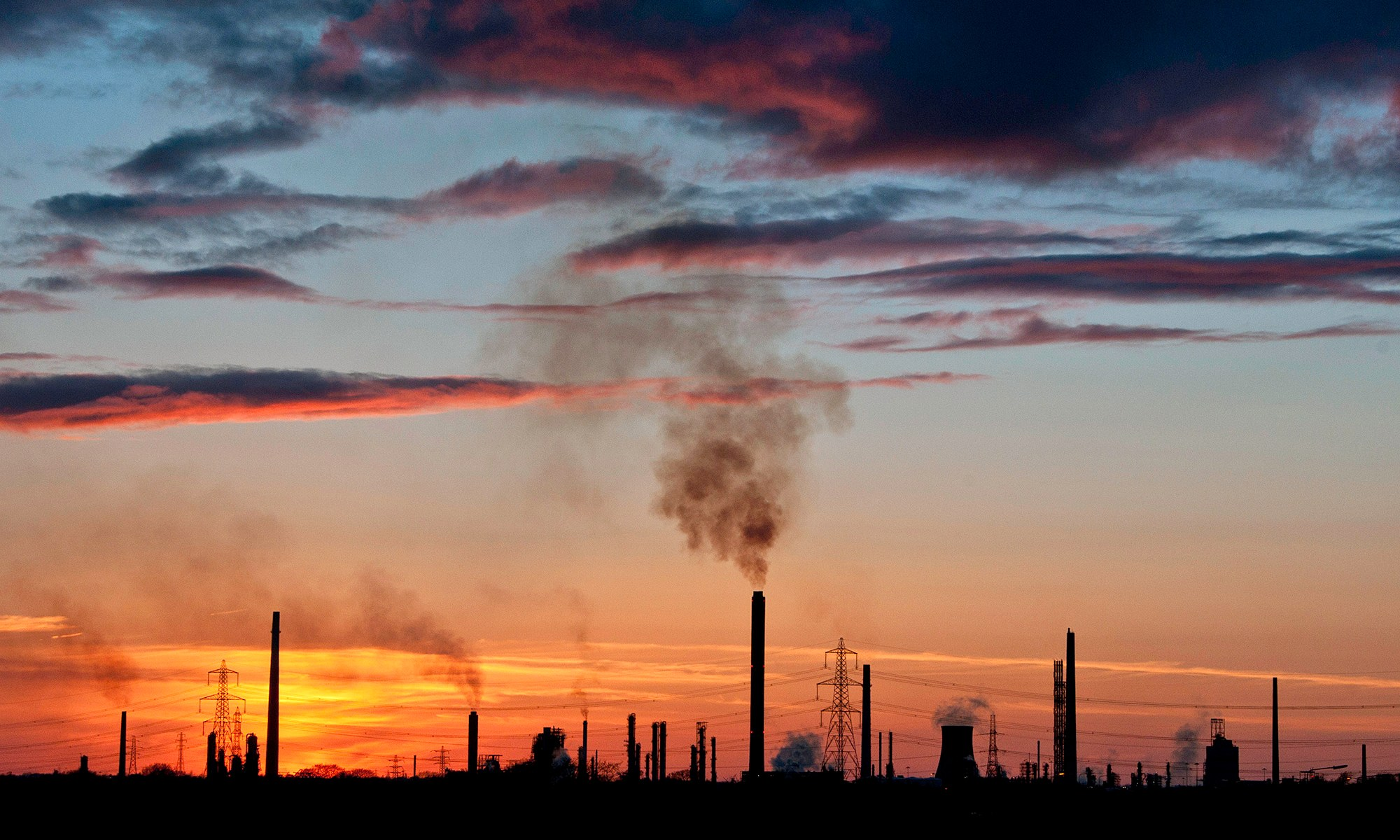 Sunset over Stanlow Refinery