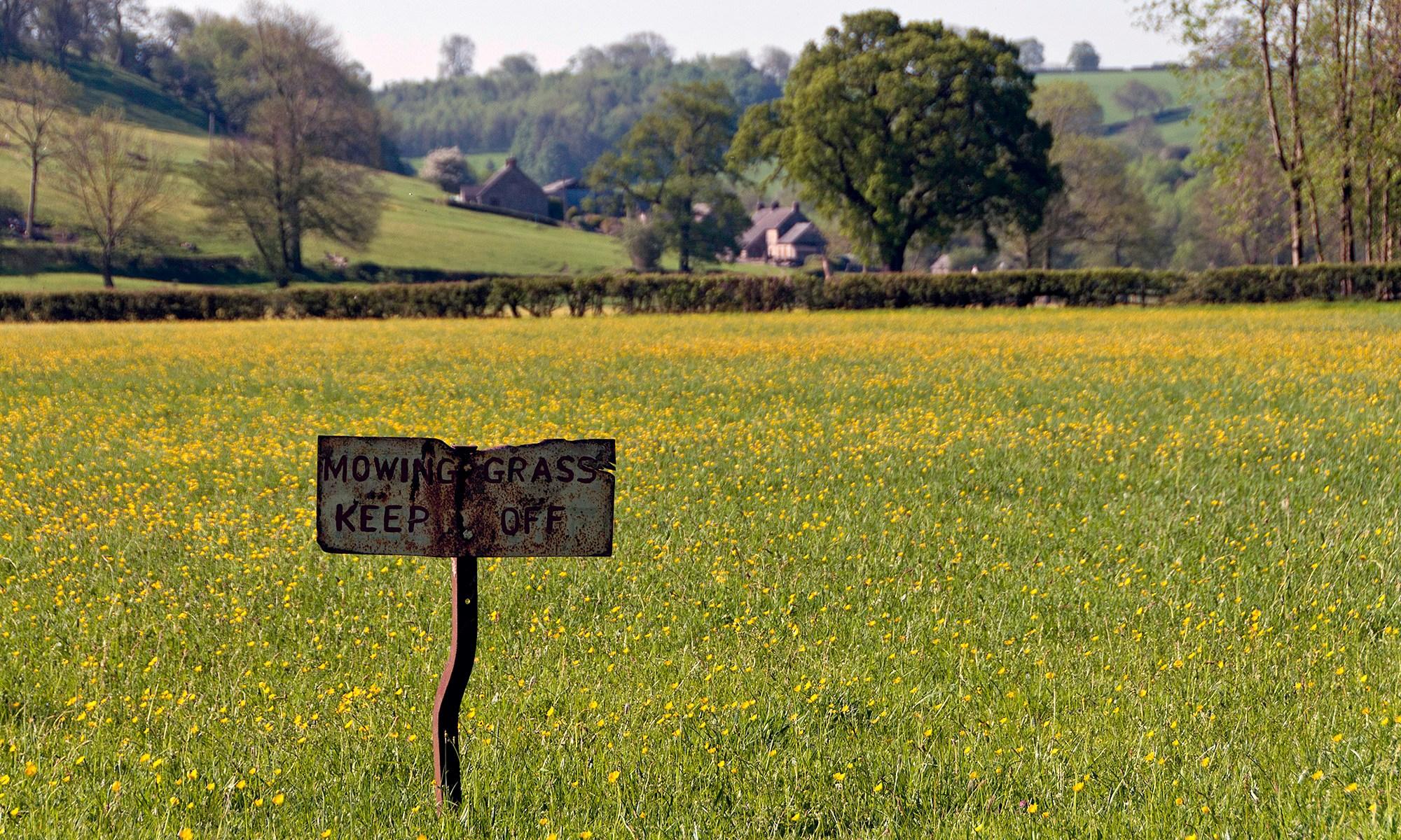 Mowing Grass - Keep Off