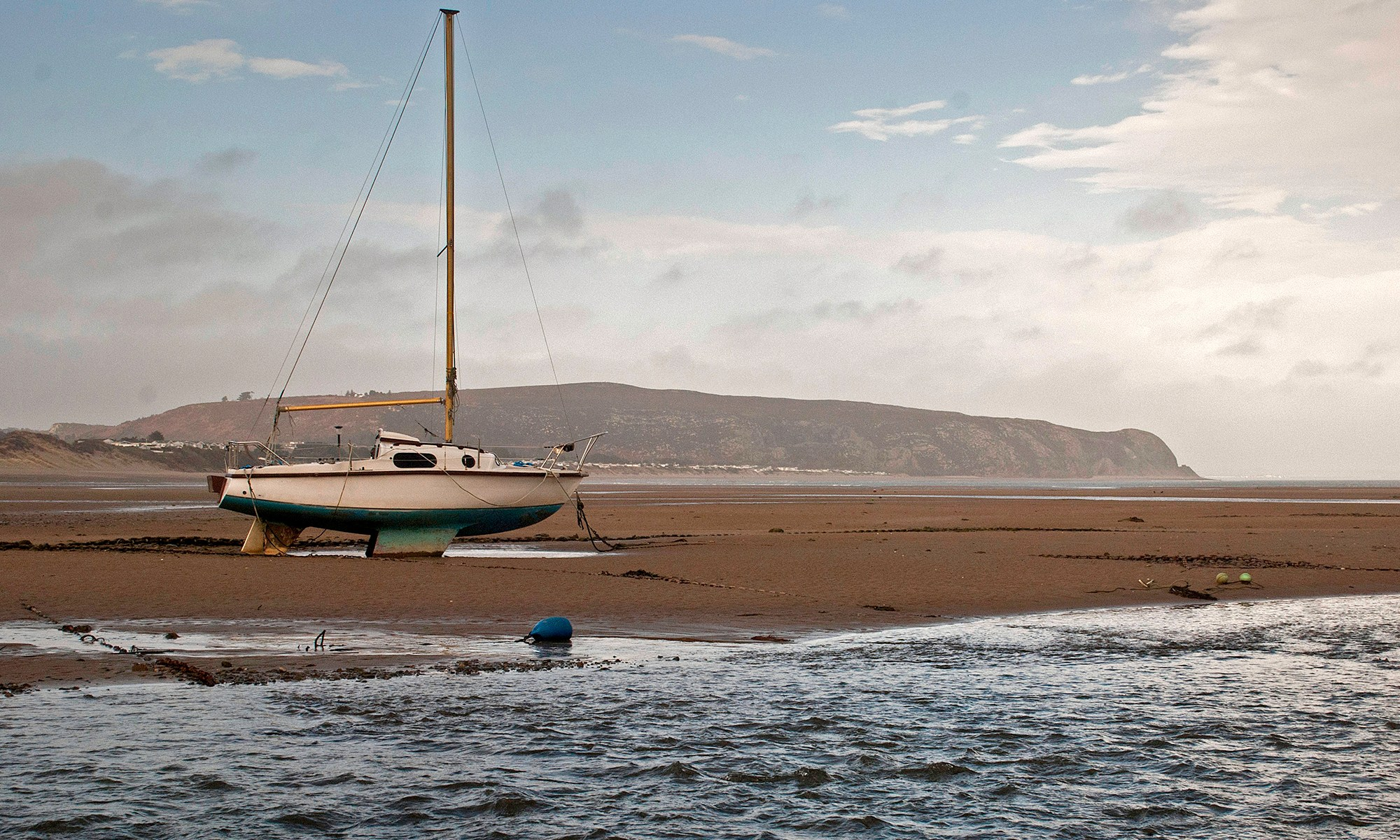 Yacht on Abersoch Beach