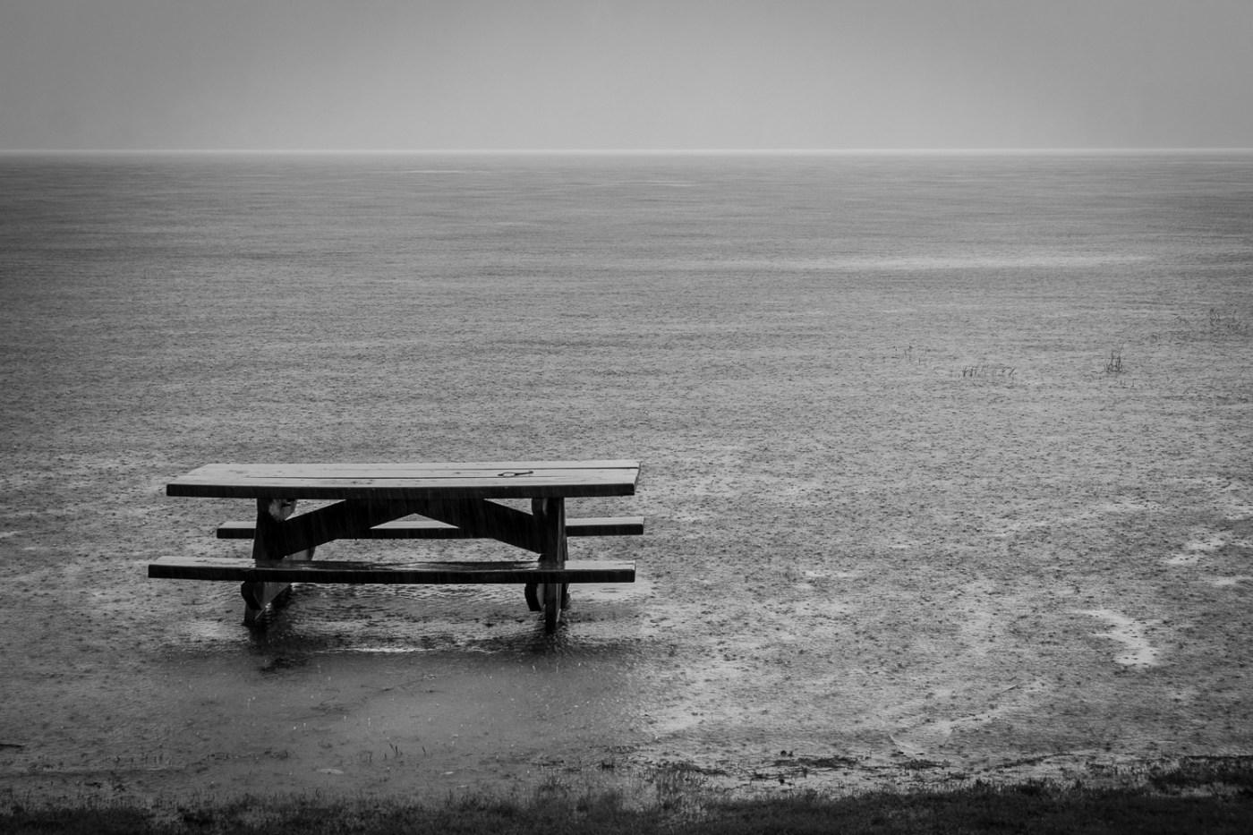 Rainy picnic by the lake