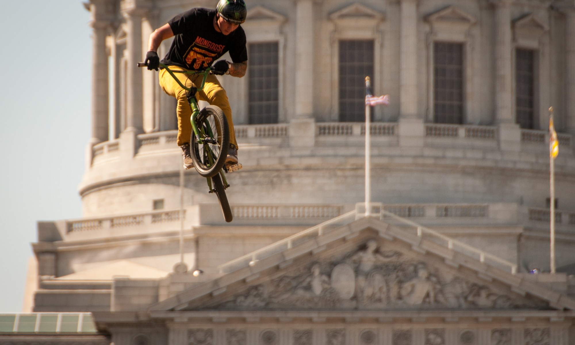 BMX rider in front of San Francisco City Hall
