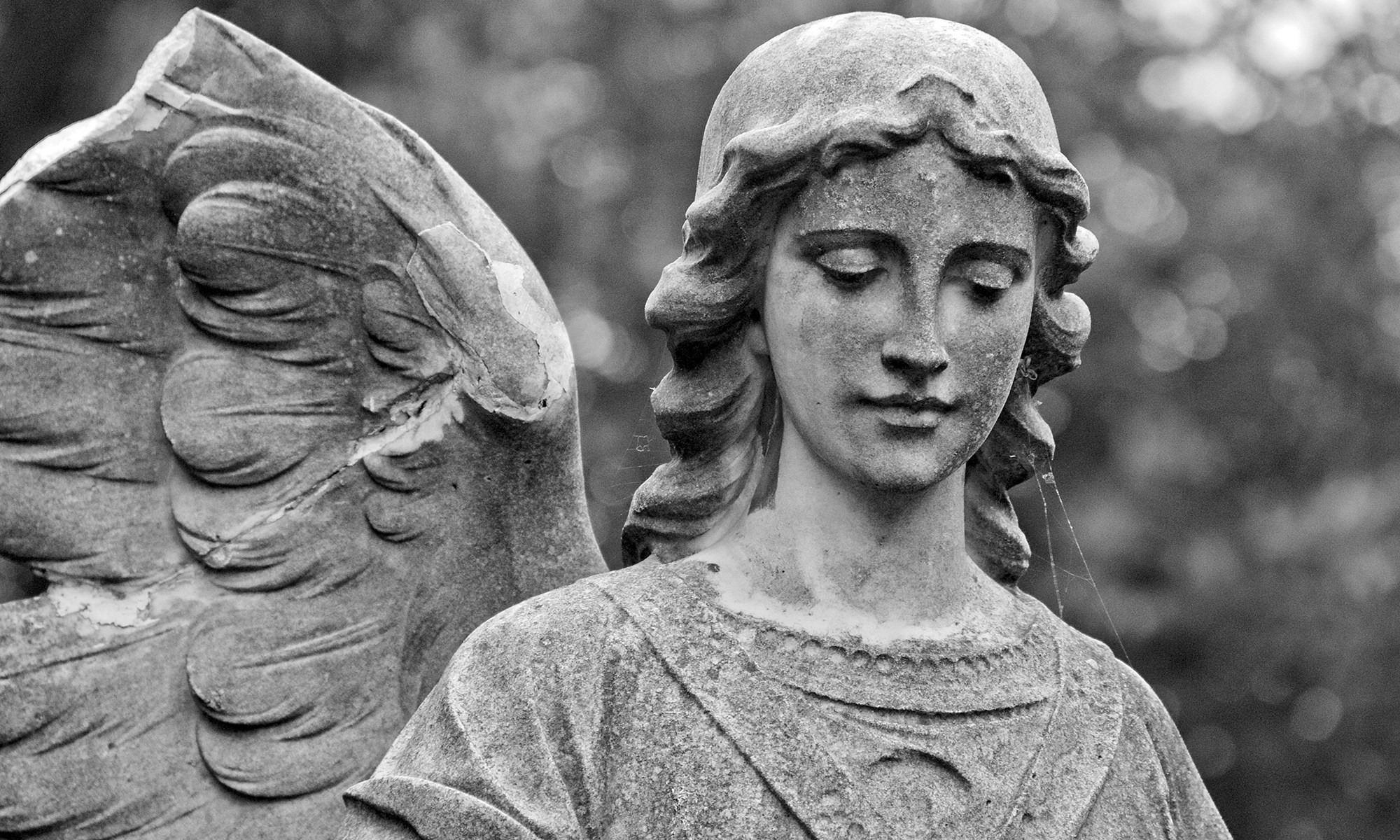 Angel Statue in Black & White
