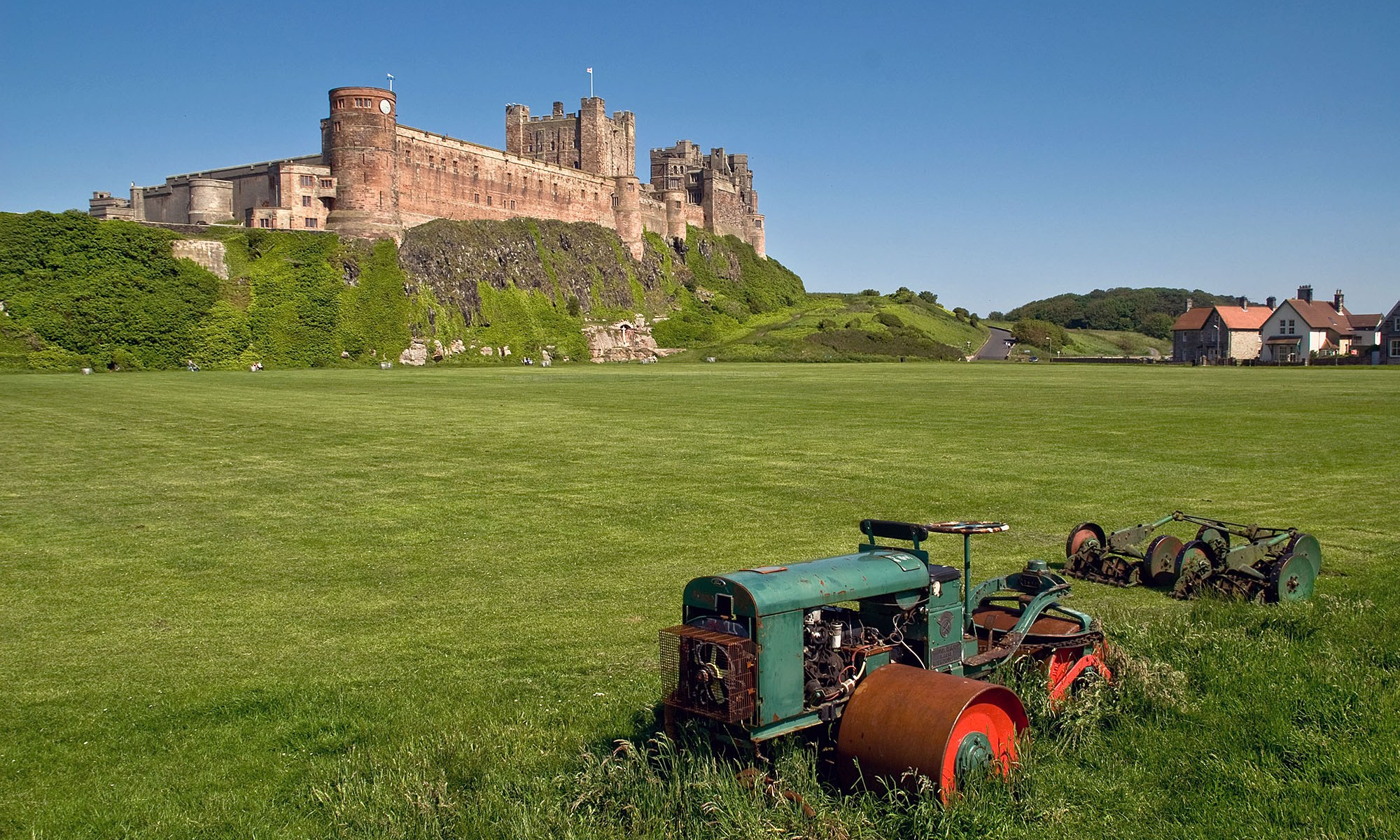 Bamburgh Castle and Tractor