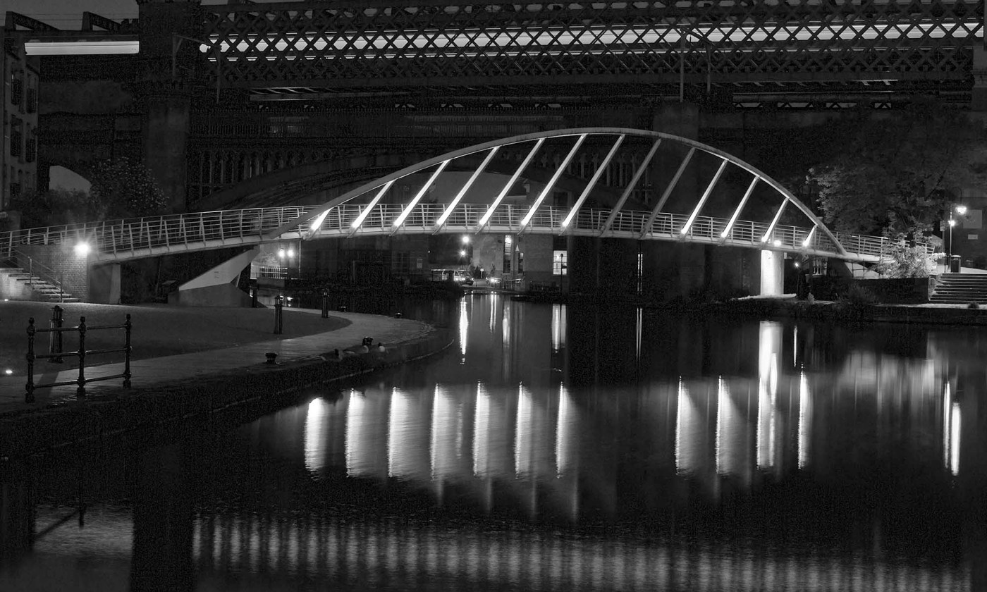 Manchester's Castlefield bridges at night