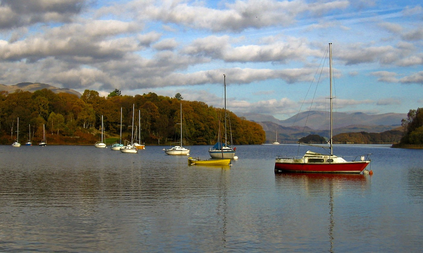 A dozen boats on Coniston Water