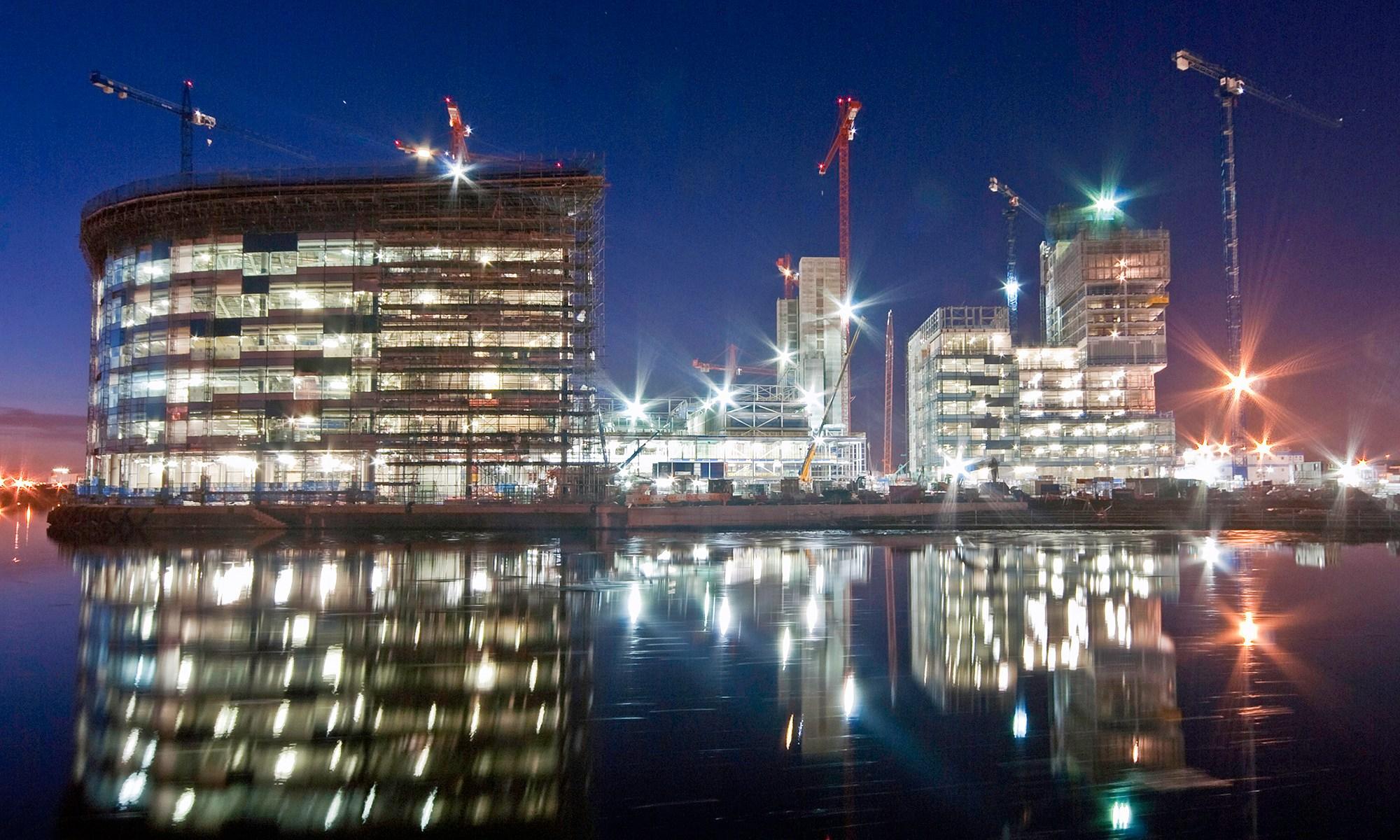 Media City Construction at Night