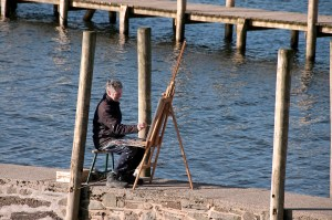 Painter at Derwent Water, Lake District