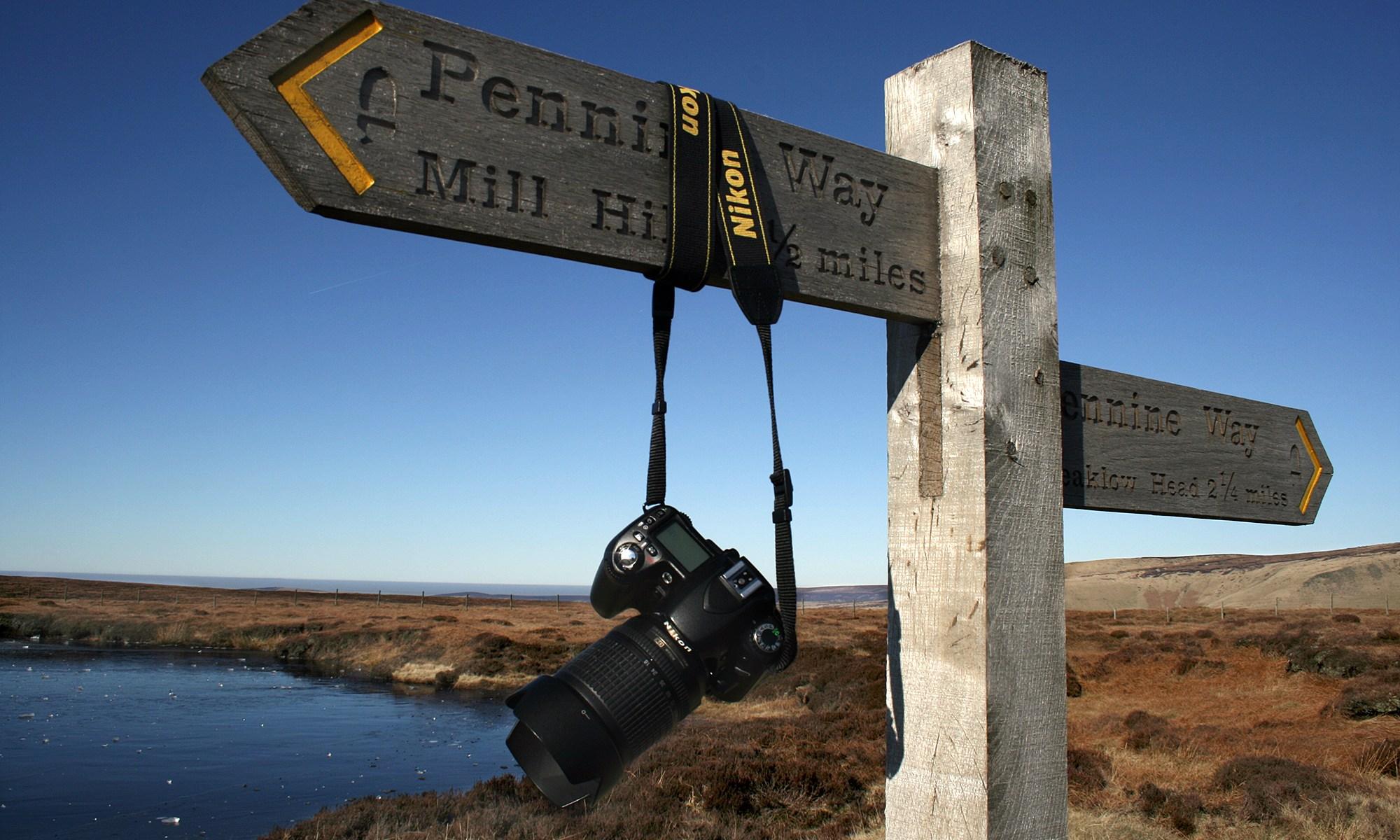 Pennine Way sign with Nikon D80 Camera