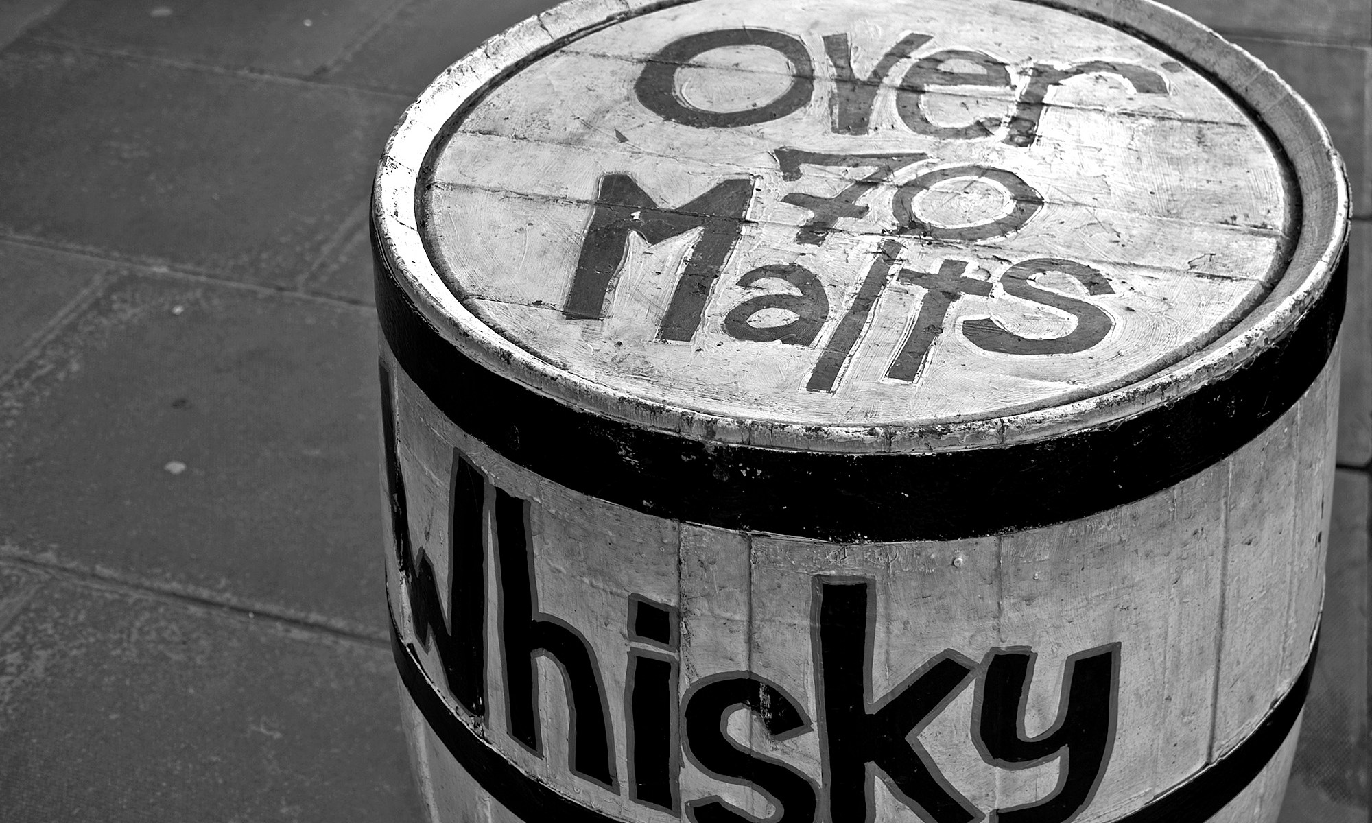 Whisky Barrel in Black & White