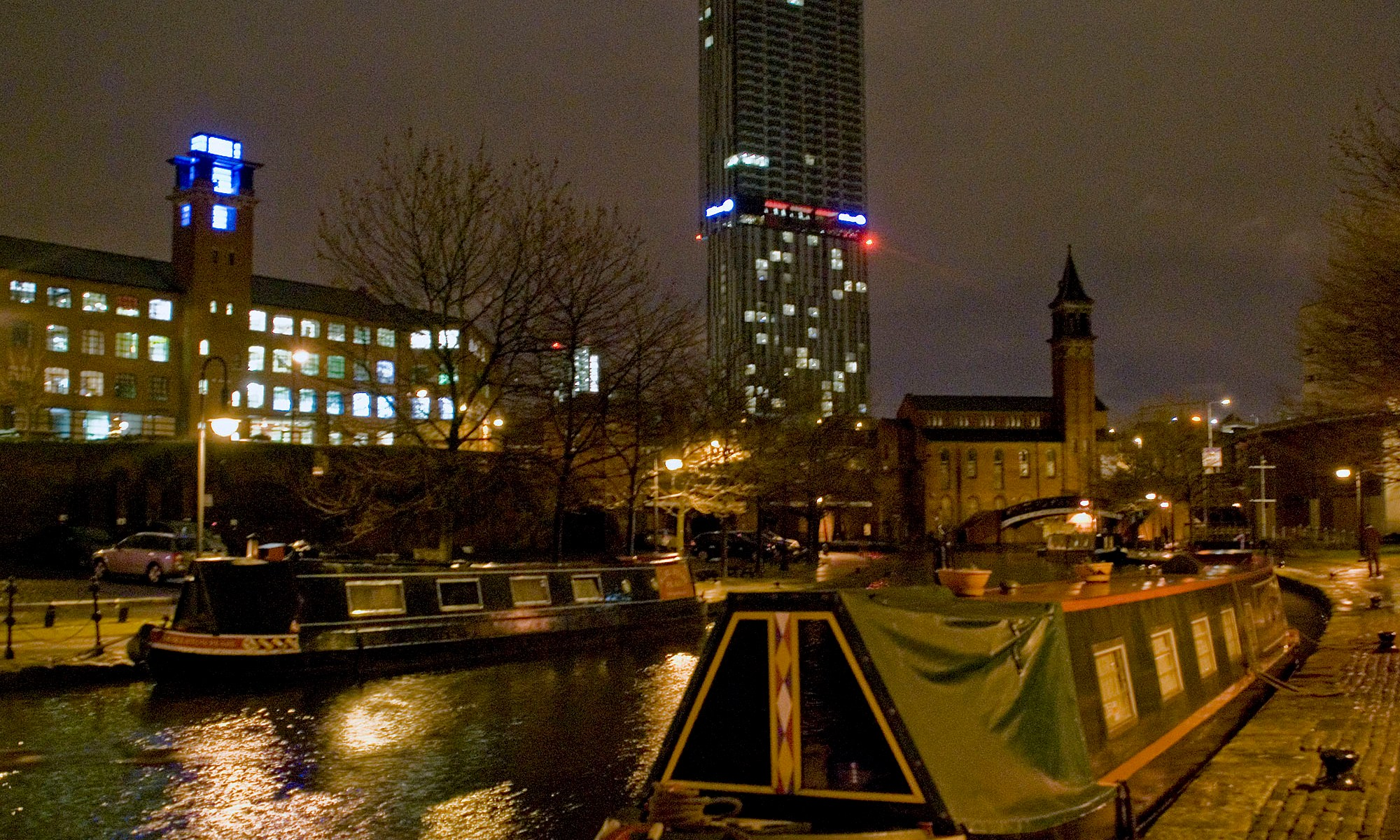 Narrowboat in Castlefield at night