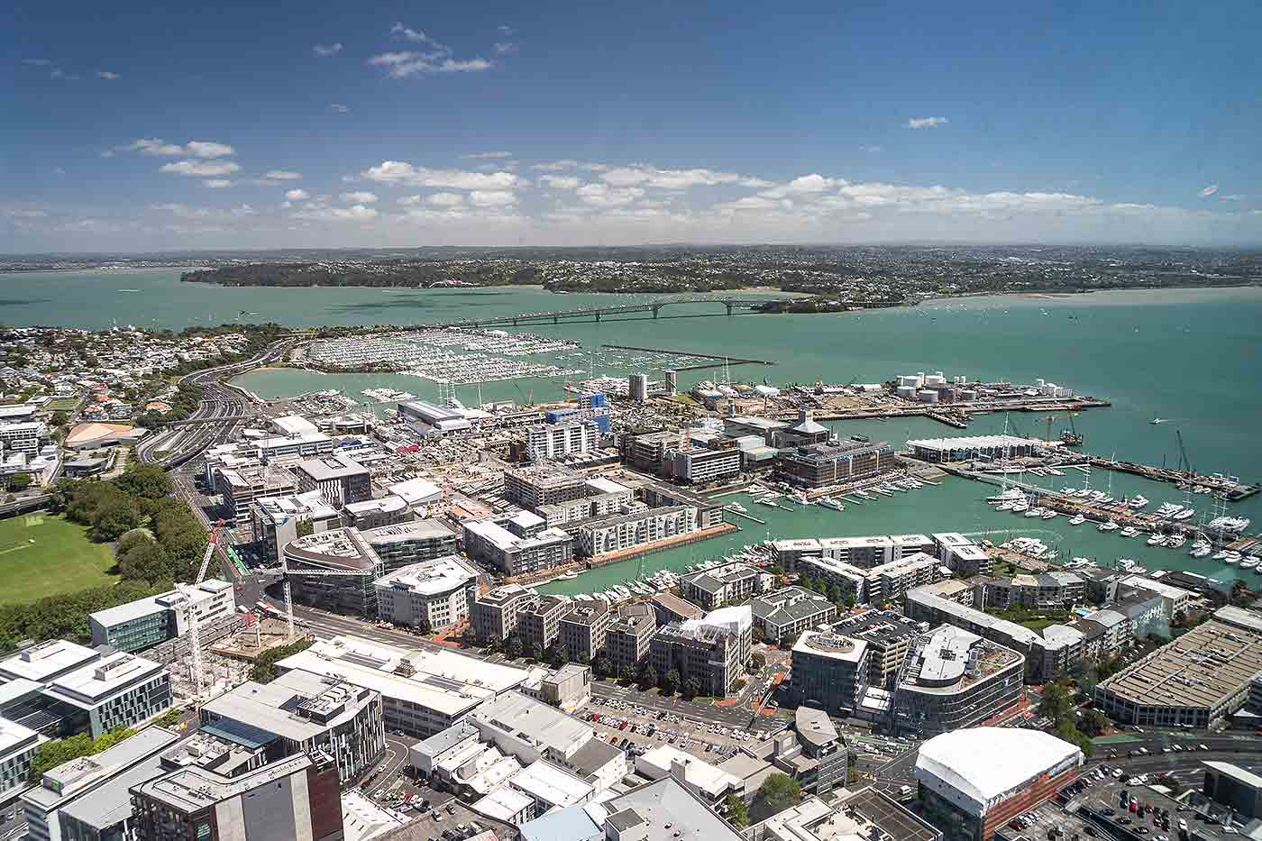 Auckland harbour from Skytower