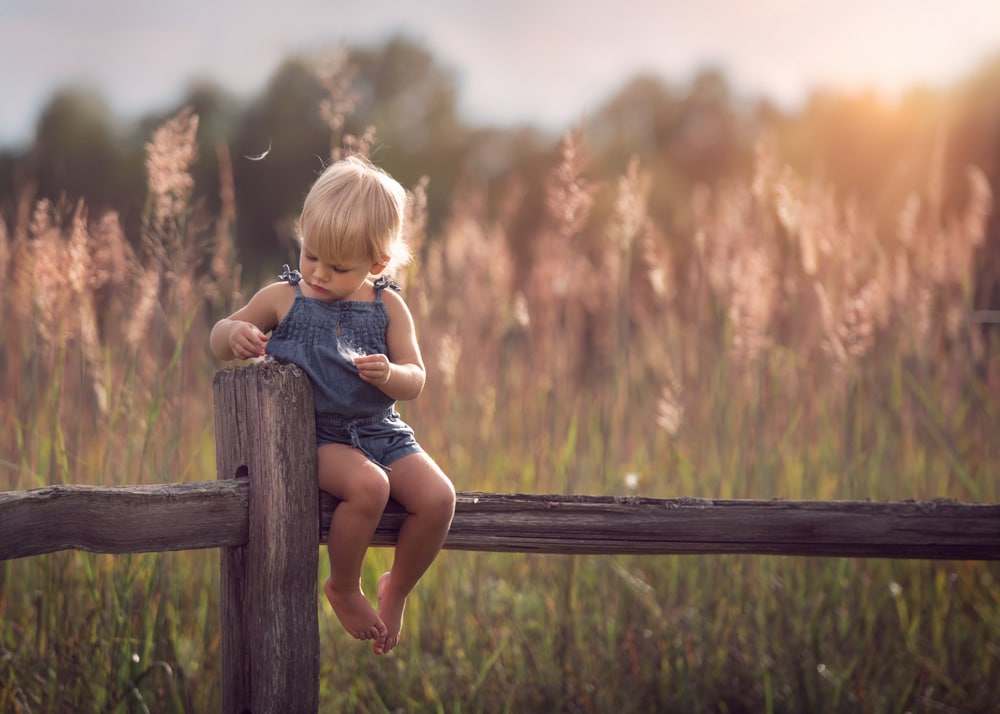 Little girl sitting in nature photo in Chicago
